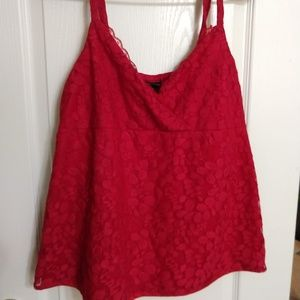 Red lace Torrid empire waist tank top large